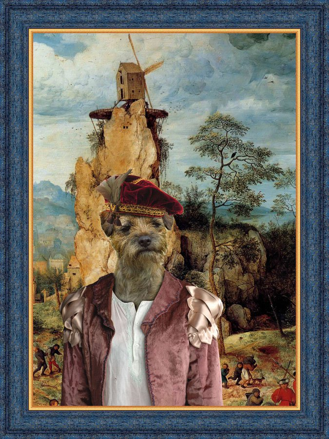 Border Terrier Fine Art Canvas Print - The Noble boy and strange windmill