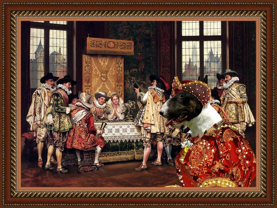 Bull Terrier Fine Art Canvas Print - A Musical Interlude