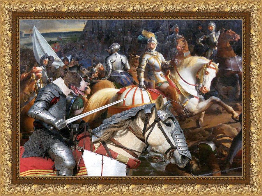 Bull Terrier Fine Art Canvas Print -  King's Knight in the battle