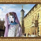 Bull Terrier Fine Art Canvas Print - Renaissance Palace with young Princess