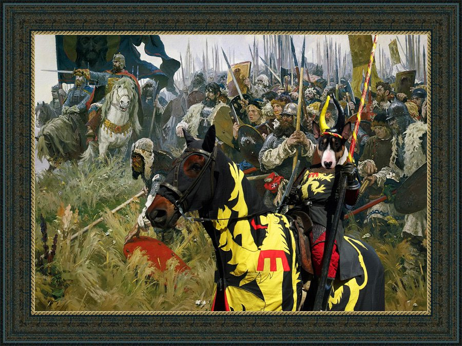 Bull Terrier Fine Art Canvas Print - Win or Die !!!