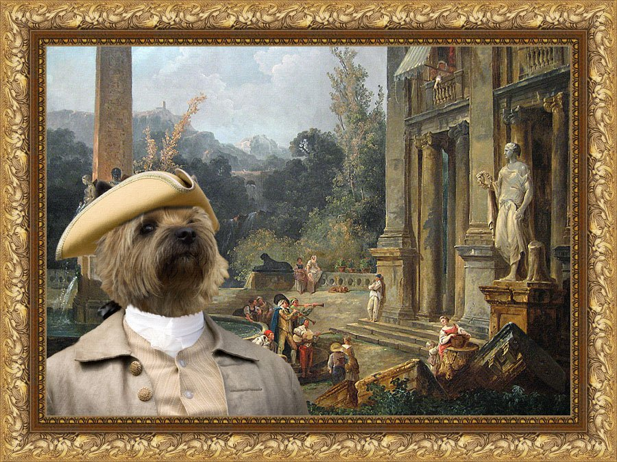 Cairn Terrier Fine Art Canvas Print - Garden Music