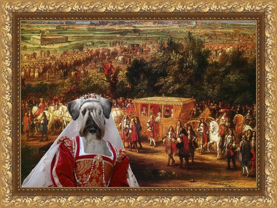 Cesky Terrier Fine Art Canvas Print - Louis XIV and his suite