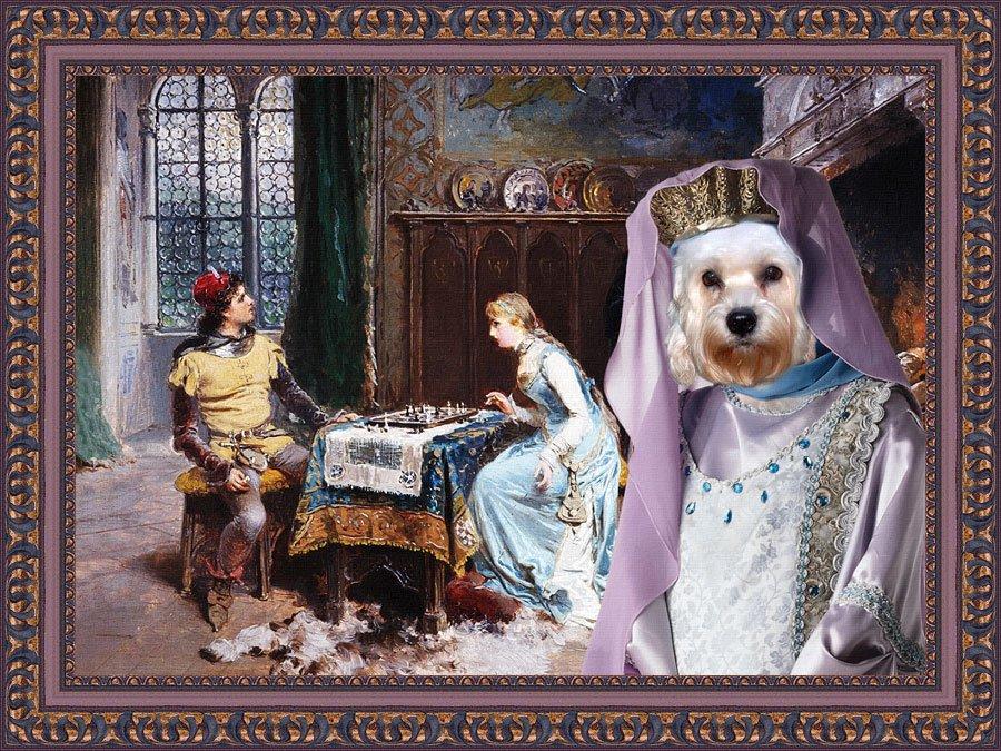 Dandie Dinmont Terrier Fine Art Canvas Print - Checkmate