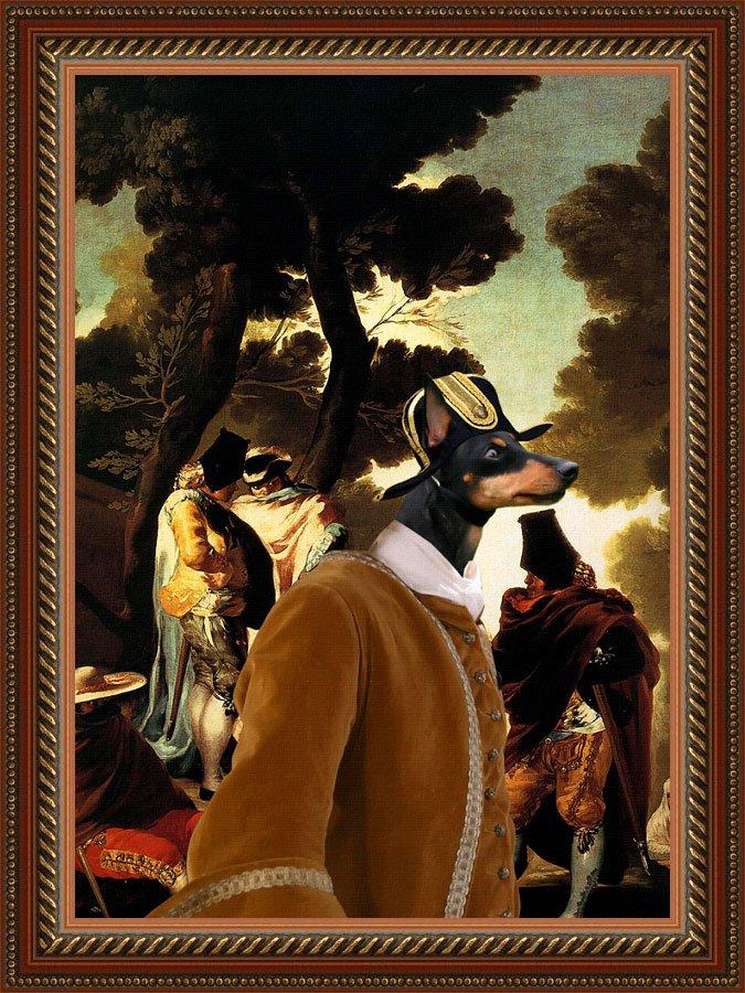 English Toy Terrier Fine Art Canvas Print - Andalousie promenade