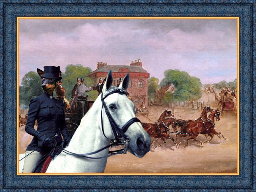 English Toy Terrier Fine Art Canvas Print - Drags of the Four in Hand Club