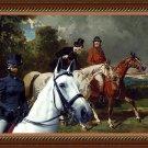 English Toy Terrier Fine Art Canvas Print - Equestrian promenade