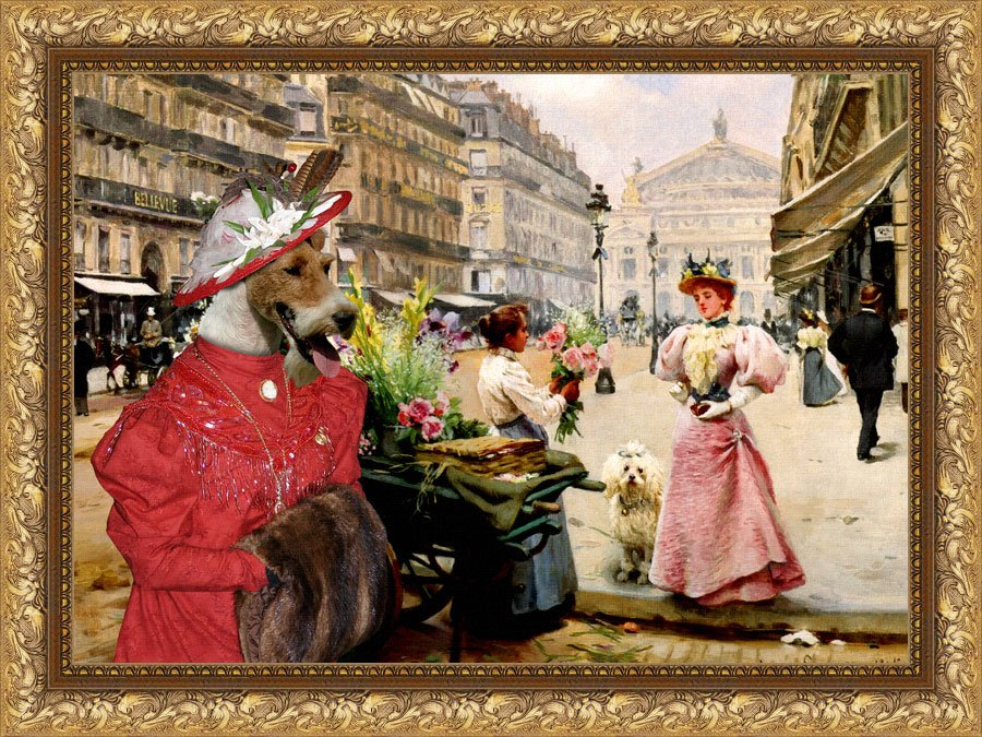 Fox Terrier Wire Fine Art Canvas Print - A  Purchase Of Flowers