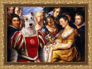 Fox Terrier Wire Fine Art Canvas Print - Making of flowercrowns