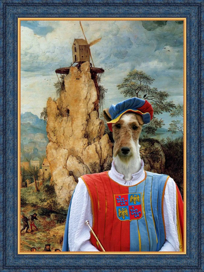 Fox Terrier Wire Fine Art Canvas Print - Troubadour and windmill