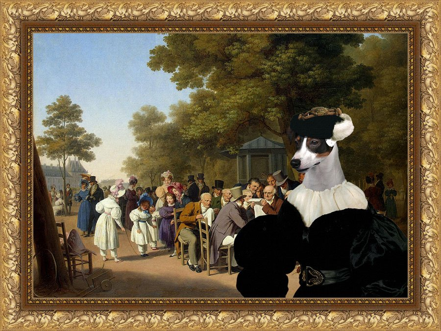 Jack Russell Terrier Fine Art Canvas Print - Politicians in the Tuileries Gardens