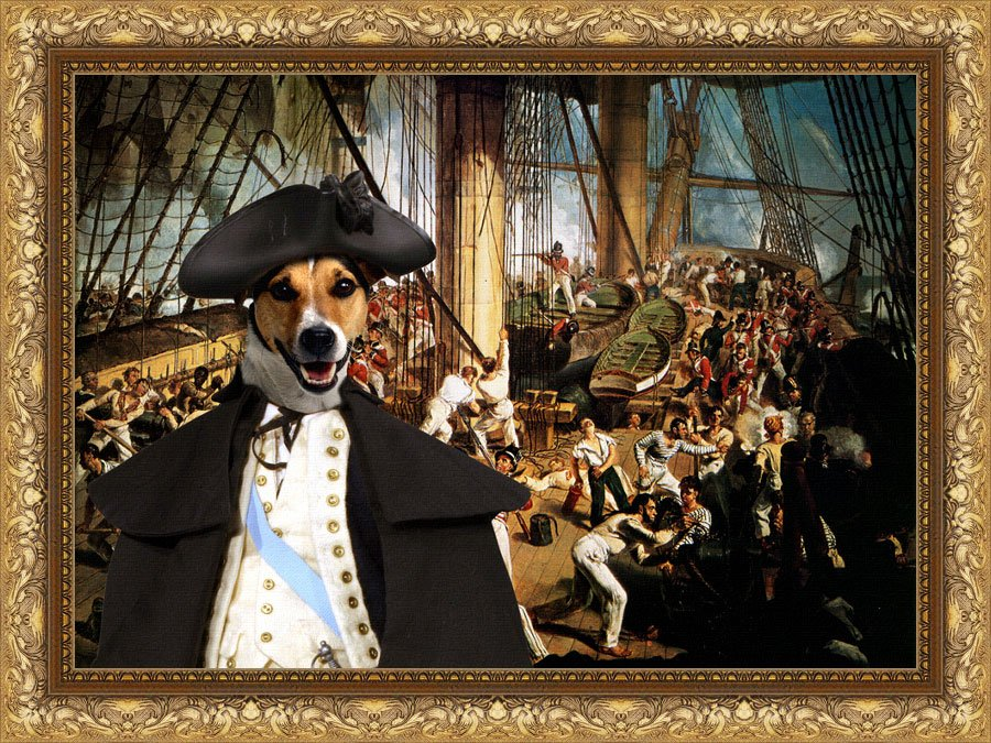 Jack Russell Terrier Fine Art Canvas Print - Battle of the Nelson on Trafalgar