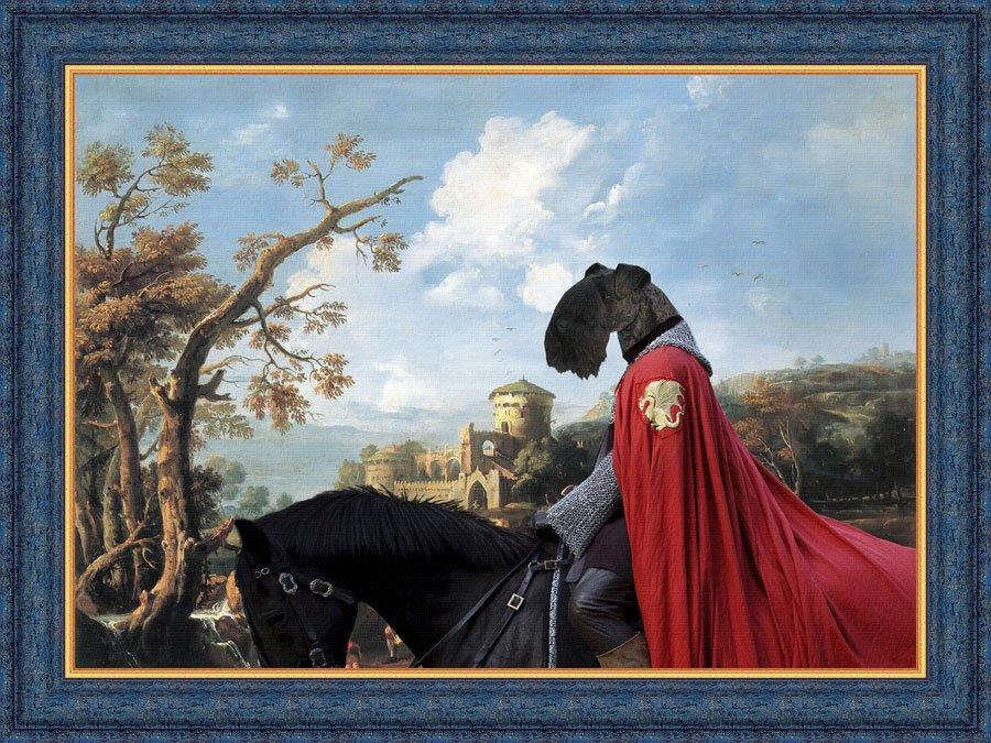 Kerry Blue Terrier Fine Art Canvas Print - Castle