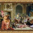 Norwich Terrier Fine Art Canvas Print - The madam and joyfull friends