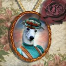 Whippet Pendant Necklace Handcrafted Ceramic -  Blue Lady
