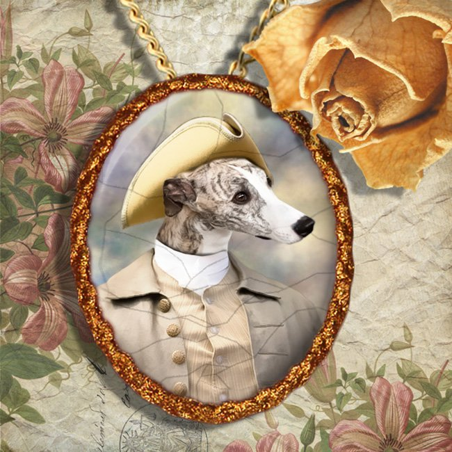 Whippet Jewelry Brooch Handcrafted Ceramic - Duke