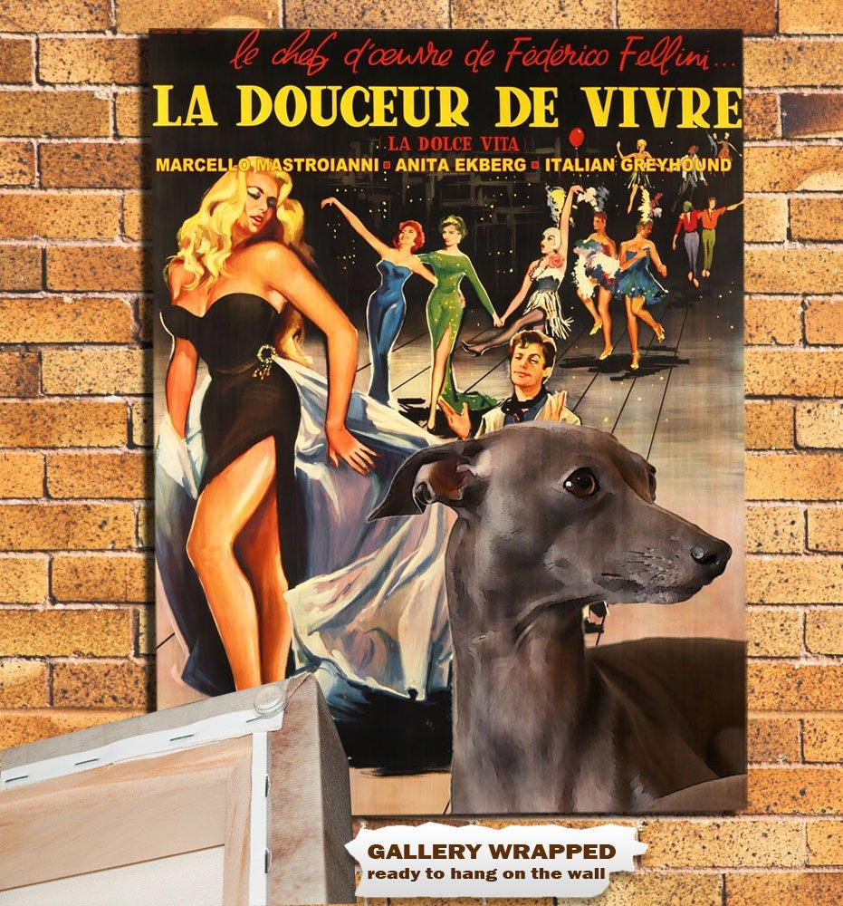Italian Greyhound Poster Canvas Print -  La Dolce Vita