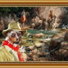 Australian Shepherd Fine Art Canvas Print - Golden rush