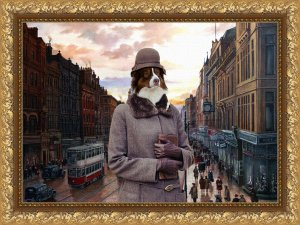 Australian Shepherd Fine Art Canvas Print - Meeting after work