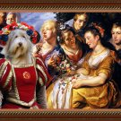Bearded Collie Fine Art Canvas Print - Making of flowercrowns