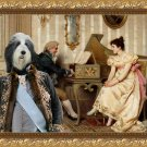 Bearded Collie Fine Art Canvas Print - The Piano lesson