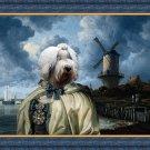 Bobtail Fine Art Canvas Print - The windmill, lady and the sailing ship