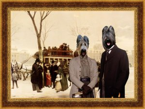 Briard Fine Art Canvas Print -  A Disturbance on Le Quai de Gesvres Paris
