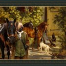 Briard Fine Art Canvas Print -  Return from the hunt