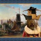 Schapendoes Fine Art Canvas Print - Windmill and trubadore