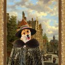 Welsh Corgi Pembroke Fine Art Canvas Print - Dutch town scene with lady