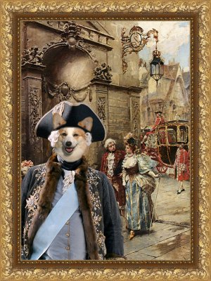 Welsh Corgi Pembroke Fine Art Canvas Print - Baron and his baronessa
