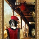 Bernese Mountain Dog Fine Art Canvas Print - Capriccio of Colonade and the Courtyard of a Palace