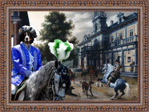 Bernese Mountain Dog Fine Art Canvas Print - Horseriders in a Palace Garden