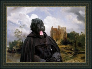 Black Terrier Fine Art Canvas Print - Glory instead of fortune