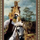 Cane Corso Fine Art Canvas Print - Lady horserider and strange windmill
