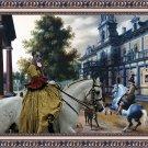 Cao Fila de Sao Miguel Fine Art Canvas Print - Figures in a Palace Garden and Lady