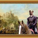 Cao Fila de Sao Miguel Fine Art Canvas Print - Wide river landscape with a castle