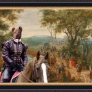 Cao Fila de Sao Miguel Fine Art Canvas Print - Wooded river landscape with soldiers