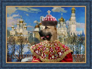 Central Asian Shepherd Dog Fine Art Canvas Print - Empress with Golden Church