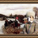 Central Asian Shepherd Dog Fine Art Canvas Print - The Russian landscape with figures