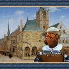 Dogue de Bordeaux Fine Art Canvas Print - The rich lady merchant awaiting delivery