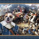 English Bulldog Fine Art Canvas Print - The blue soldier in battle