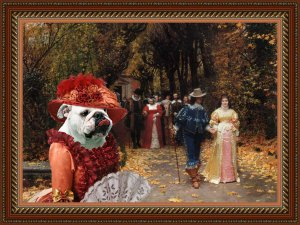 English Bulldog Fine Art Canvas Print - Left Mistress