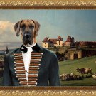 Great Dane Fine Art Canvas Print - The Baron and castle