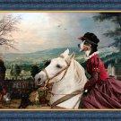 Grosser Schweizer Sennenhund Fine Art Canvas Print - The rural road and horseride Lady
