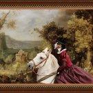 Grosser Schweizer Sennenhund Fine Art Canvas Print - Horseback riding through the village passage