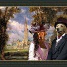 Hovawart Fine Art Canvas Print - The couple near Sailsbury cathedral