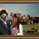 Hovawart Fine Art Canvas Print - Landscape with couple, castle and shepherd