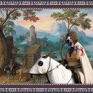 Mastin Espanol Fine Art Canvas Print - Wide mountainous landscape with a castle and a horseman