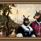 Miniature Pinscher Fine Art Canvas Print - The happy ceremony in park
